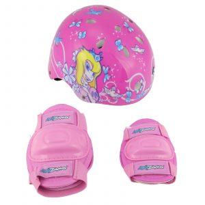 Combo de casco y rodilleras para niña Kidzamo