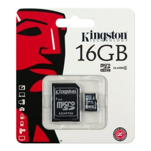 Tarjeta de memoria flash Kingston 16gb con adaptador sd