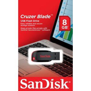Memoria USB SanDisk Cruzer Blade 8GB Color Negro con Rojo