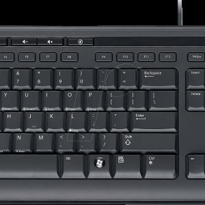 Teclado alámbrico Microsoft 600 antiderrame en español color negro