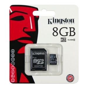 Memoria MicroSD Kingston de 8GB con Adaptador Clase 4 Para Android