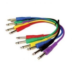 Cables Zebra para guitarra 1/4'' a 1/4'' mono 6 colores 3''