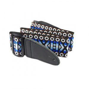 Cincho de Tejido Zebra Para Guitarra Color Mosaico Azul
