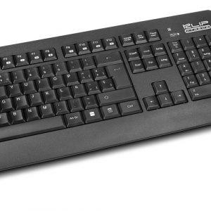 Combo teclado y mouse inalámbrico Klip Xtreme KCK-265S en español color negro