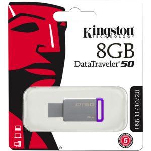 Memoria USB Kingston 8GB DT50 Color Gris con Morado