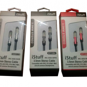 Cable Istuff 3.5 a 3.5, stereo 6' gris
