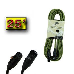 Cable P/Mic. Zebra  XLR Macho a XLR Hembra 25'  Verde