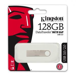 Memoria USB Kingston DT SE9 G2 de 128GB Color Plateado