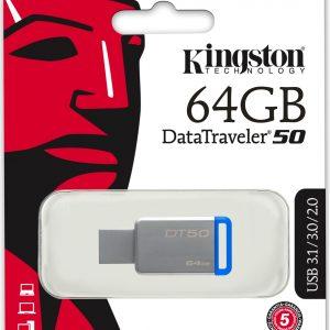 Memoria USB Kingston DataTraveler 50 64GB Color Azul