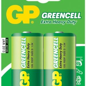 Bateria GP Greencell Carbon D 1.5V Carton 2 piezas