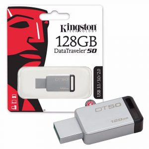 Memoria USB Kingston DT50 128GB Color Gris con Negro