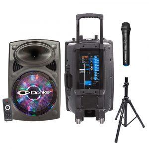 "Bocina activa Donker 15"" recarg. c/ soporte, mic. USB/SD/BT/FM C/R con luces"