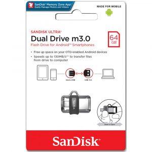 Memoria USB SanDisk Ultra Dual M3.0 MicroUSB y USB 3.0 de 64GB