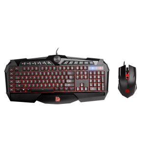 Combo de teclado y mouse gaming Tt eSPORTS challenger prime RGB color negro