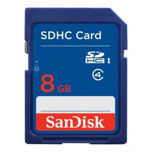 Memoria SD Sandisk 8GB Clase 4 Para Camara