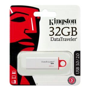 Memoria USB Kingston DT G4 32GB Color Blanco con Rojo