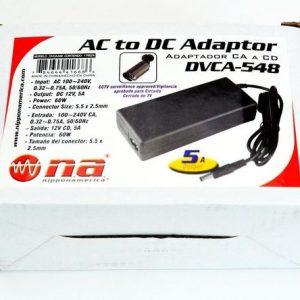 Adaptador N.A. 5amp. 12v, AC/DC P/ 4 cámaras