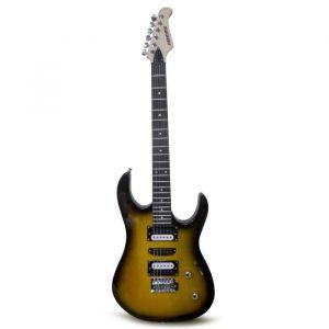 Guitarra eléctrica Hendrix tipo sc con estuche, 5 pastillas amarillo sunburst