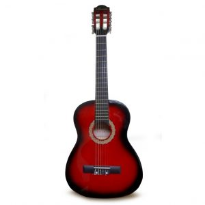 "Guitarra Valenciana para niño 30"" rojo negro con estuche"