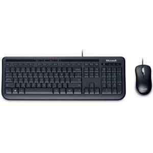 Combo alámbrico teclado y mouse Microsoft 600 APB-00004 en español color negro
