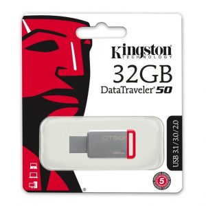 Memoria USB Kingston DT50 32GB Color Gris con Rojo