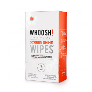 Whoosh screen shine wipes paquete de 30 con 1 toalla de microfibra