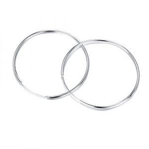 Aretes redondos de plata 925 50mm