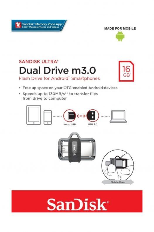 Memoria USB SanDisk Ultra Dual M3.0 MicroUSB y USB 3.0 de 16GB
