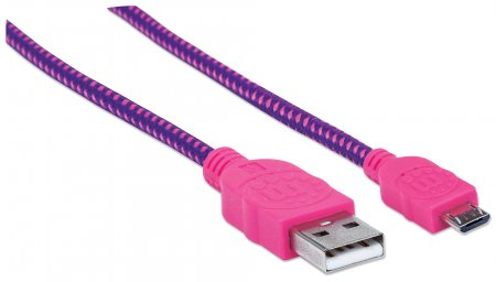 Cable Manhattan Trenzado Micro USB a USB A Color Rosado de 1.8 Metros