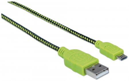 Cable Manhattan Trenzado Micro USB a USB A Color Negro con Verde de 1.8 Metros