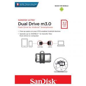Memoria USB SanDisk Ultra Dual M3.0 MicroUSB y USB 3.0 de 32GB