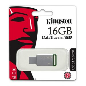 Memoria USB Kingston DT50 16GB Color Gris con Verde