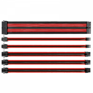 Cables para Fuente de Poder Thermaltake TtMod Sleeve Rojo/Negro, Forrados