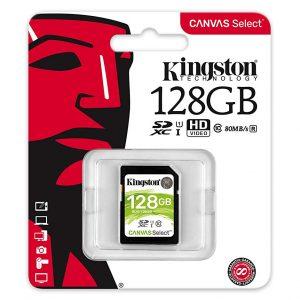Memoria SD Kingston Canvas Select 128 GB Clase 10 Para Camara