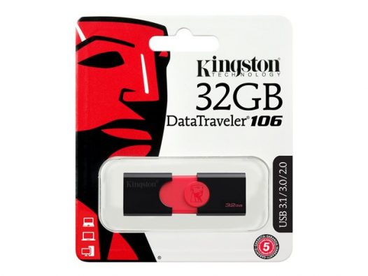Memoria USB Kingston DT106 32GB Color Negro con Rojo