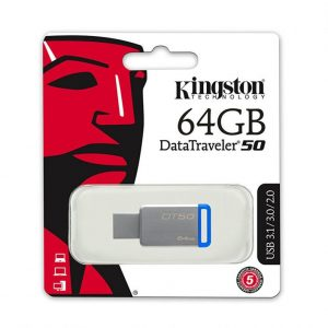 Memoria USB Kingston 64GB 3.1 DT50 Color Gris con Azul