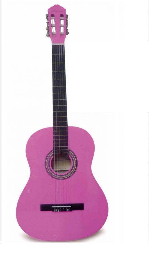 "Guitarra Acústica Valenciana 39"" Color Rosado Con Funda"