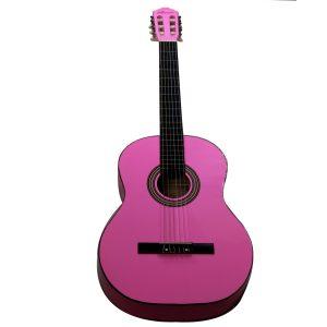 """Guitarra Clásica Valenciana 39"""" Color Rosado Con Funda"""