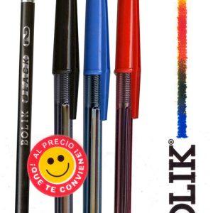 1 Bolígrafo ULTRA PM Azul+1 Negro+1 Rojo + Lápiz Bolik Black + Borrador