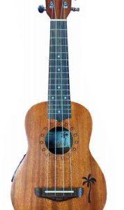 Ukulele Caribe 21″ Soprano Color Caramelo Gama Alta Electroacustico con Estuche