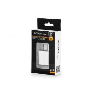 Cargador de Pared Argom Dual USB Blanco