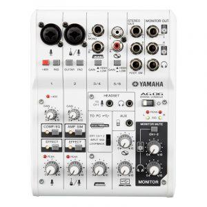 Mezcladora de 6 canales con interfaz de audio USB  YAMAHA AG06  color blanco