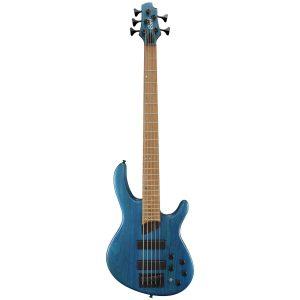Bajo Eléctrico de 5 Cuerdas B5 PLUS AS RM marca Cort Color Aqua Azul de Poro Abierto con Funda (OPAB)