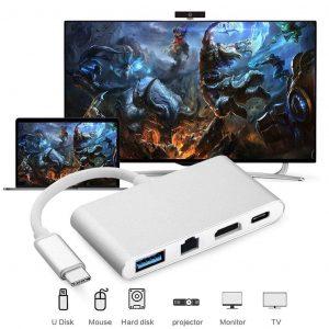 Adaptador de Tipo C Macho a HDMI RJ45 USB 3.0 4 en 1
