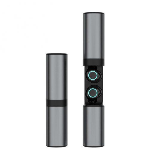 Audifonos Bluetooth Independientes Con Base de Carga y Powerbank S2-TWS Color Negro