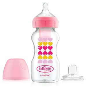 Pacha para Bebé de Transición marca Dr. Brown's Cuello Ancho 9 Oz / 270Ml Color Rosada con Boquilla Sippy