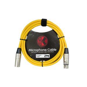Cable para Micrófono XLR-XLR de 2 Metros Color Amarillo Marca Kirlin calibre 24