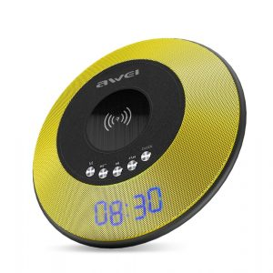 Bocina Bluetooth con Radio FM, Despertador, Carga Inalambrica y Microfono marca Awei color Amarillo con Negro