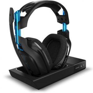 Audífonos Astro A50 Inalámbricos con Base de Carga Color Negro/Azul