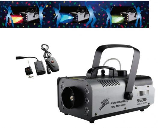 Máquina de Humo Profesional de 950W con Control Remoto y Luz Led marca Zebra